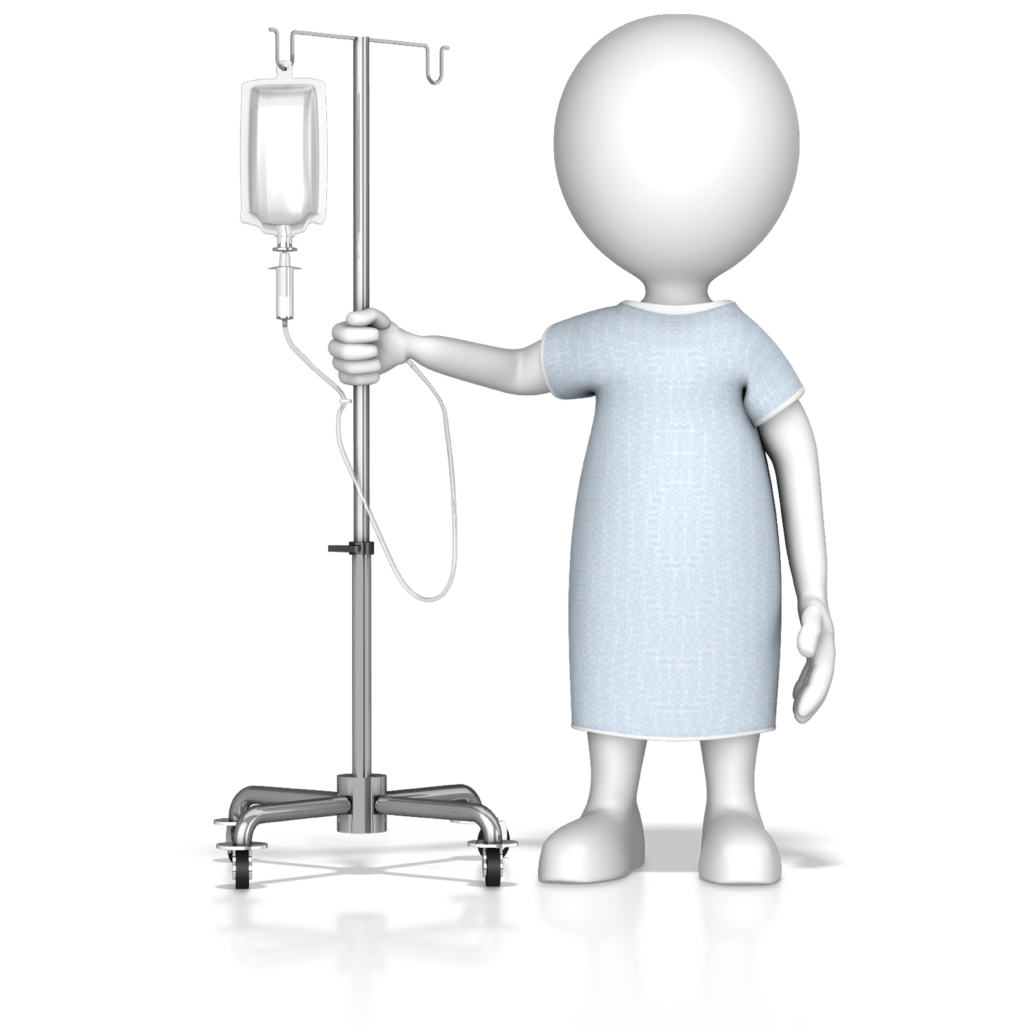 patient walking with iv bag