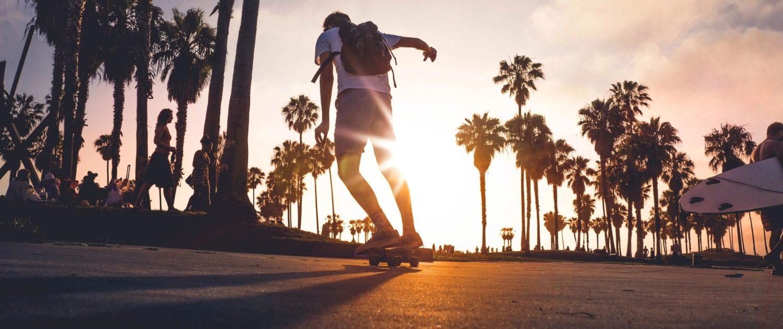 a guy skateboarding